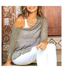 cotton poncho, 'sanur shade in taupe' (indonesia)