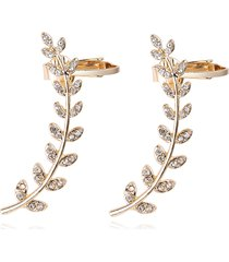 orecchini di placcati d'oro di foglie orecchini di strass