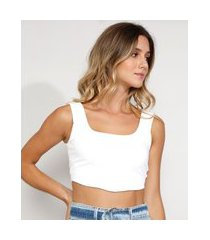 top cropped feminino corset canelado alça larga decote reto off white