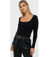 missguided ribbed button front body bodys