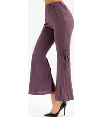 heathered high waisted cinched flare pants