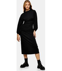 black editor ruched tie side midi dress - black