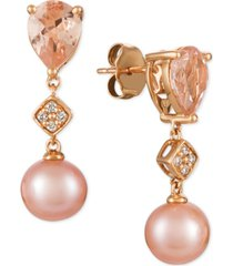 le vian peach morganite (1-1/2 ct. t.w.), pink cultured freshwater pearl (9mm), and diamond accent drop earrings in 14k rose gold