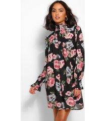 gesmokte rechte jurk met hoge hals en bloemenprint, zwart