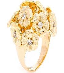 anel  buquê de flores  semijoia banho de ouro 18k  com cravaçáo de zircônias - tricae