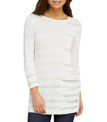 nic+zoe women's day boatneck top - white multicolor - size xs
