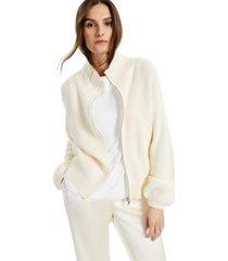 alfani petite modern lounge zippered mock-neck sweater, created for macy's