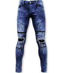 skinny jeans true rise stoere biker jeans ripped -