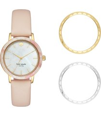 kate spade new york morningside scallop watch set, 34mm in blush/mop/gold at nordstrom