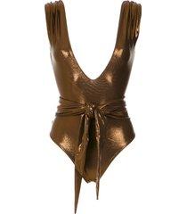 amir slama metallic belted swimsuit - brown