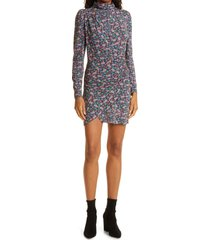 ronny kobo ruby ruched long sleeve dress, size x-small in teal/ultra violet multi at nordstrom