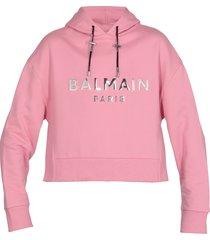 balmain cropped cotton sweatshirt