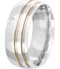 aliança prata mil de prata c/ zircônia e filete de ouro prata