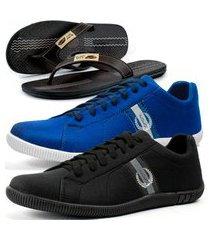kit 2 pares de sapatênis casual dhl masculino preto e azul + chinelo conforto