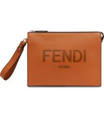 fendi debossed-logo wrist strap pouch - brown