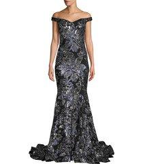 jovani women's metallic floral off-the-shoulder gown - black gunmetal - size 8