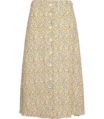 lenzing™ ecovero™ button-front midi skirt knälång kjol gul gap