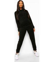 zwangerschaps pyjama set met knopen front en lange mouwen, black