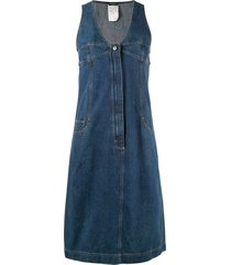 chanel pre-owned midi denim dress - blue