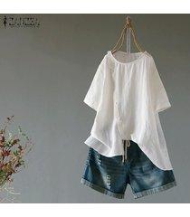 zanzea ocasional de las mujeres camiseta de manga corta top del llano asimétrico básico más el tamaño de la blusa -blanquecino