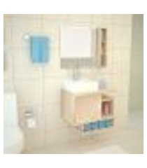 gabinete banheiro maggiore kit completo mdp macadâmia 60cm