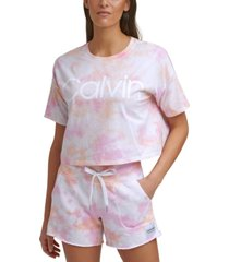 calvin klein performance cropped tie-dyed t-shirt