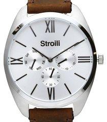 orologio multifunzione con cinturino in pelle marrone e cassa in acciaio silver per uomo