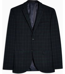 mens navy and green check super skinny fit suit blazer with notch lapels