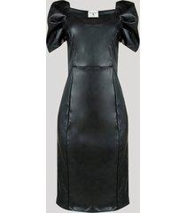 vestido feminino mindset midi manga bufante preto