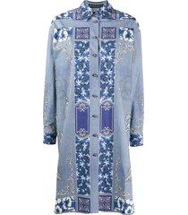 etro tassel print shirt dress - blue