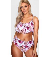 plus floral print frill high waist bikini, white