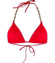 versace tie-string bikini top - red