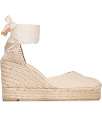 castañer cream carina 80 ankle tie wedge sandals - neutrals