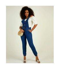 macacão feminino jeans bolsos biotipo