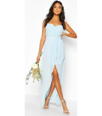 bridesmaid occasion bandeau pleated maxi dress, dusty blue