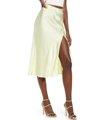 women's socialite bias cut satin skirt, size small - yellow