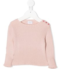 violeta e federico button-shoulder ribbed sweater - pink
