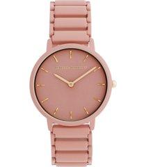 rebecca minkoff women's major peach matte paint stainless steel bracelet watch 35mm