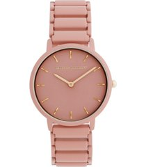 rebecca minkoff women's major peach matte paint stainless steel bracelet watch 35mm
