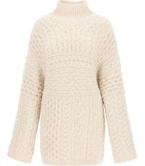 nanushka raw cable-knit sweater