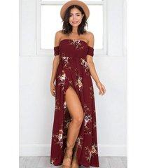 vestido casual generico playa estampada de gasa - rojo