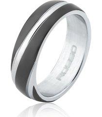 anel aço abaulado black detalhe diagonal