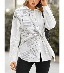 camicetta casual a maniche lunghe annodata con stampa patchwork da donna
