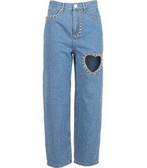 heart cut out jeans blue