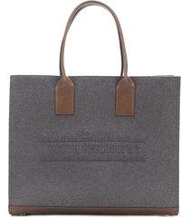 brunello cucinelli cotton twill tote bag - grey