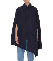 asymmetric hem spread collar hooded cape