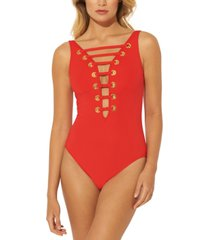 bleu by rod beattie hole in one plunge one-piece swimsuit women's swimsuit