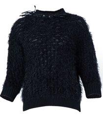 frayed crystal embellished knit top