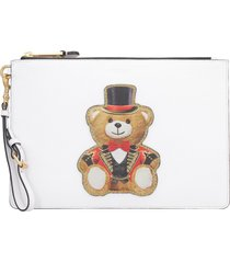 moschino printed flat pouch