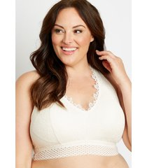 maurices plus size womens white lace mesh trim racerback bralette